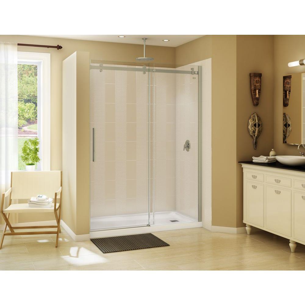 Halo 59 in. x 79 in. Semi-Frameless Sliding Shower Door in Brushed Nickel
