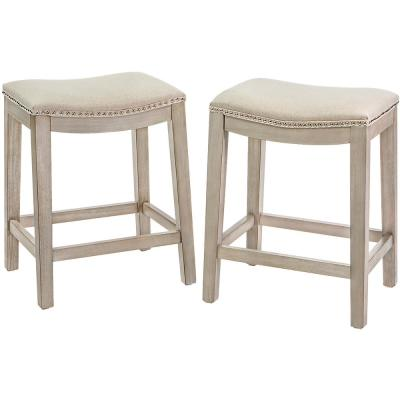 Classic Isabel 24 in. Beige Backless Counter Saddle Bar Stool (Set of 2)