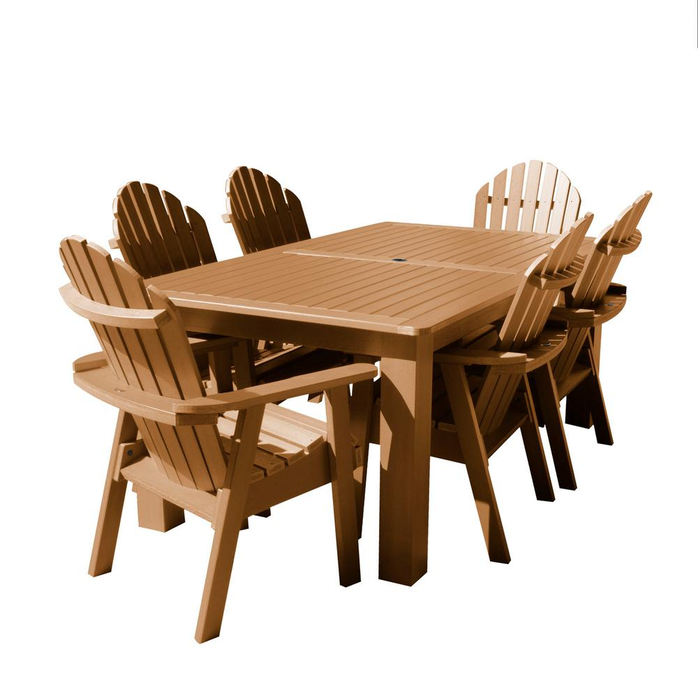Highwood Hamilton Toffee 7-Piece Recycled Plastic Rectangular Outdoor Dining Set