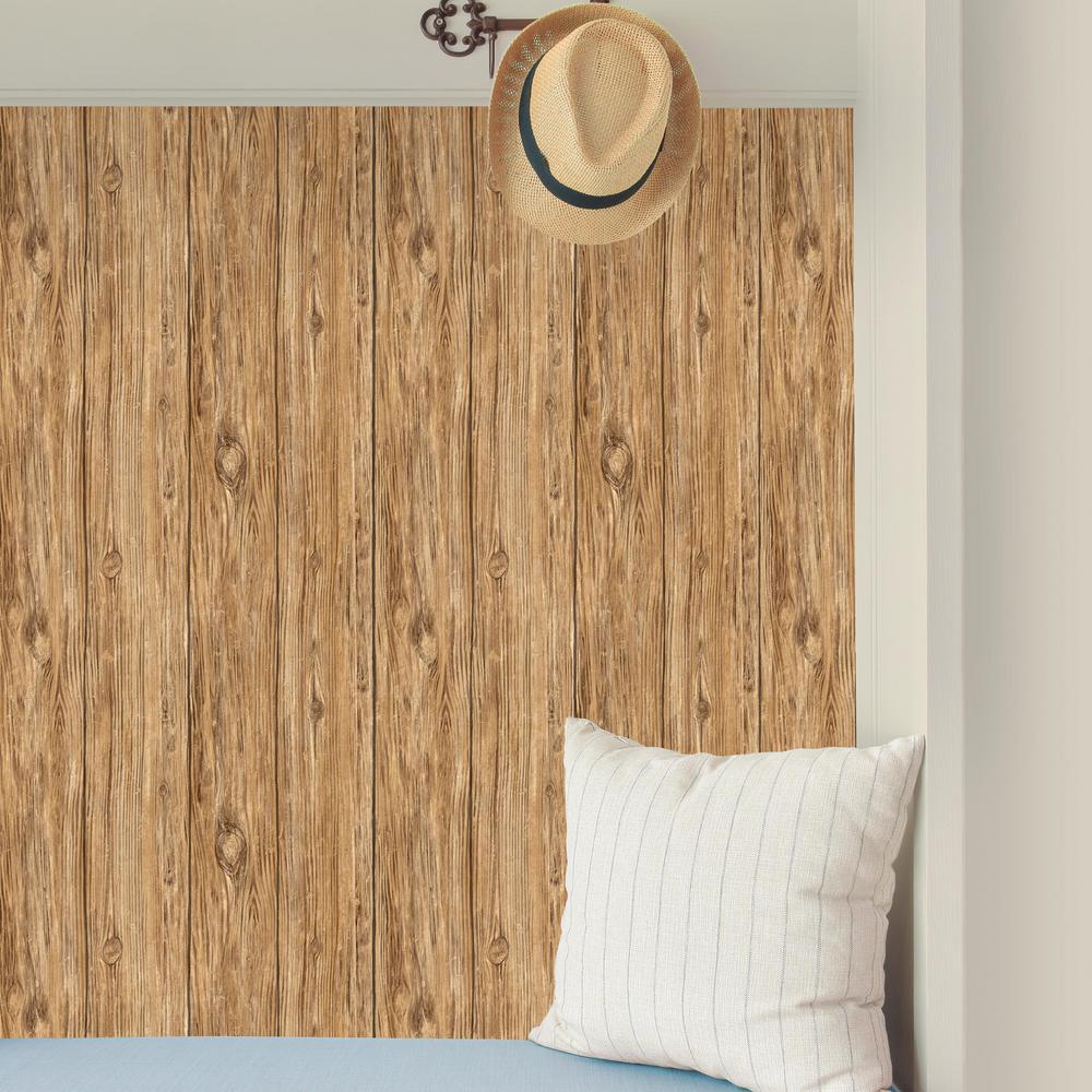 28.18 sq. ft. Brown Mushroom Wood Peel and Stick Wallpaper
