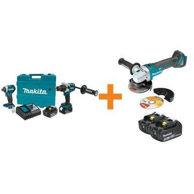 18V LXT Lithium-Ion BL Cordless 2Pc Combo Kit w/BONUS 18V Cordless 4-1/2 /5 in. CutOff/Angle Grinder and 18V Battery 2Pk