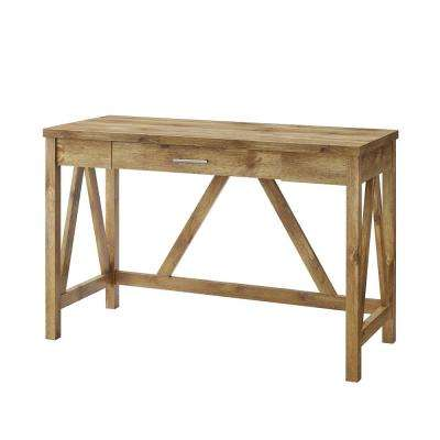 46 in. Barnwood Rustic Farmhouse A-Frame Computer Writing Desk with Drawer
