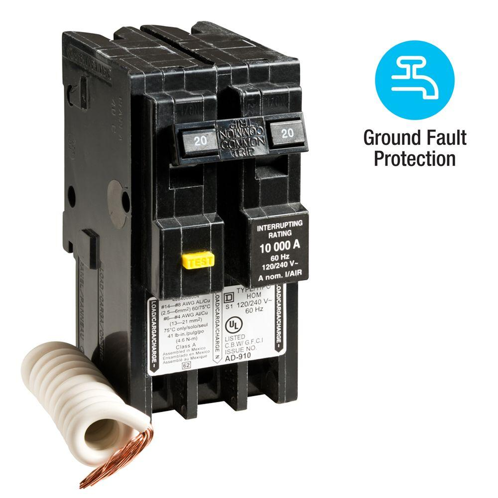 Square D Homeline 20 Amp 2-Pole GFCI Circuit Breaker-HOM220GFI - The on
