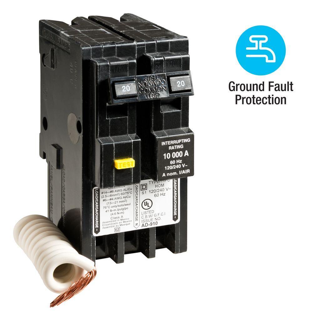 Square D Homeline 20 Amp 2-Pole GFCI Circuit Breaker by Square D