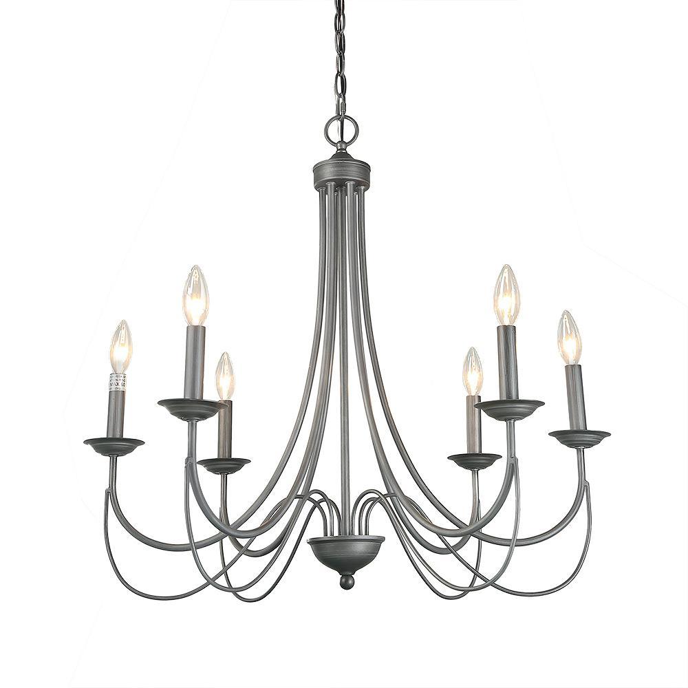 6-Light Antique Silver Indoor Chandelier