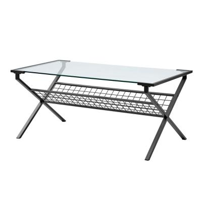 42 in. Black Modern Metal and Glass Coffee Table with Magazine Holder