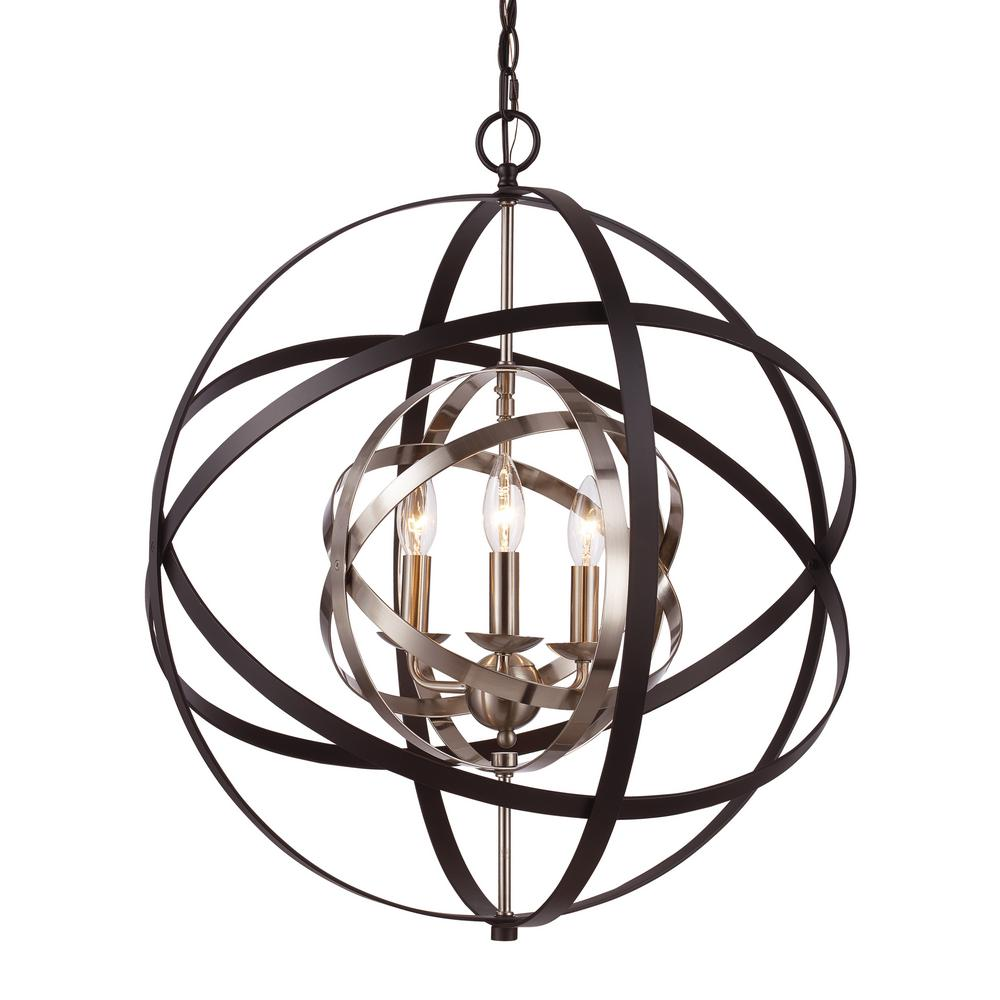 Monrovia 3-Light Rubbed Oil Bronze and Antique Silver Leaf Pendant