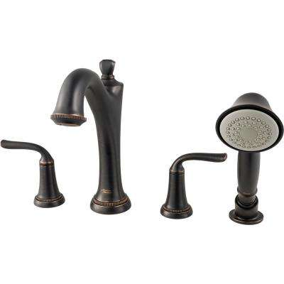 Patience 2-Handle Deck-Mount Roman Tub Faucet for Flash Rough-in Valves with Hand Shower in Legacy Bronze