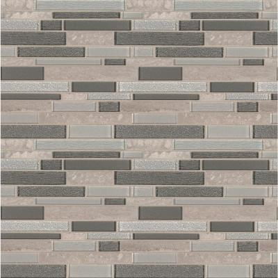Snow Mass Interlocking 11.81 in. x 11.81 in. x 8mm Textured Glass/Stone Mesh-Mounted Mosaic Tile (9.7 sq. ft. / case)