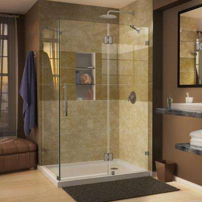 Quatra Lux 34-5/16 in. x 34-5/16 in. x 72 in.  Frameless Corner Hinged Shower Enclosure in Brushed Nickel