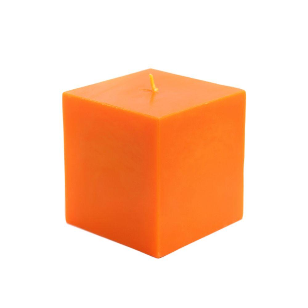 3 in. x 3 in. Orange Square Pillar Candles Bulk (12-Case)