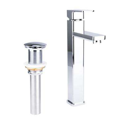 Square Single Hole Single-Handle Vessel Bathroom Faucet with Drain in Chrome