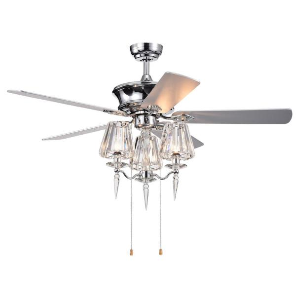 Onwen 52 in. Indoor Chrome Finish Hand Pull Chain Ceiling Fan with Light Kit