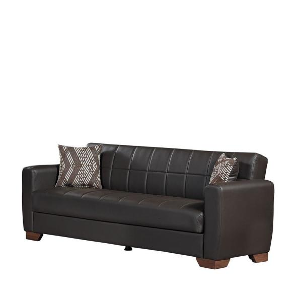 Barato 84 in. Brown Faux-Leather 3-Seater Full Sleeper Convertible Sofa Bed with Storage