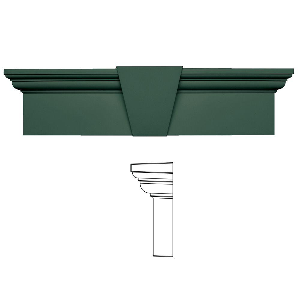 Builders Edge 9 in. x 33-5/8 in. Flat Panel Window Header with Keystone in 028 Forest Green