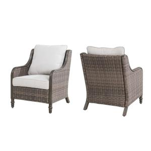 Windsor Brown Wicker Outdoor Patio Lounge Chair with CushionGuard Biscuit Tan Cushions (2-Pack)