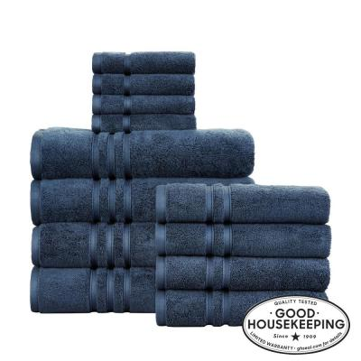 Turkish Cotton Ultra Soft 12-Piece Towel Set in Navy