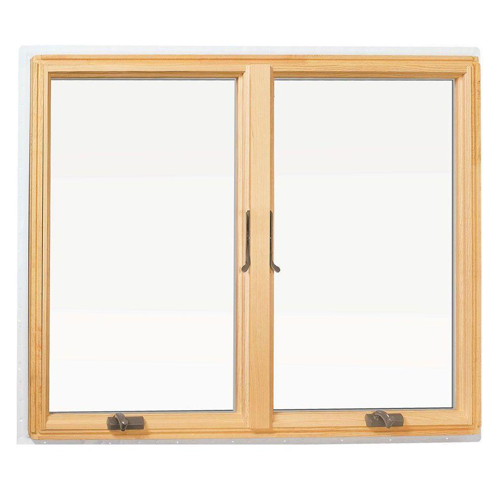 400 Series Cat Wood Window With White Exterior