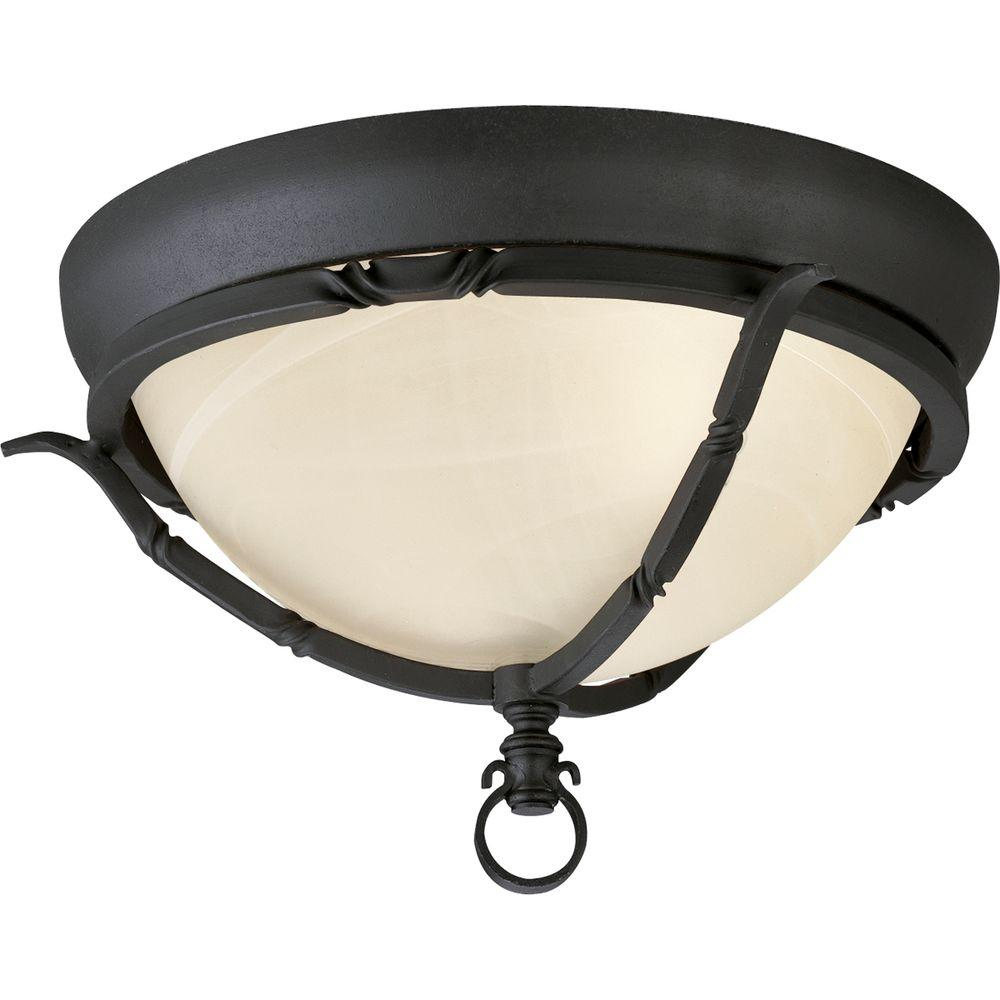 Progress Lighting Santiago Collection 2-Light Forged Black Flushmount with Jasmine Mist Glass