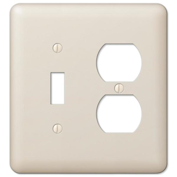 Declan 2 Gang 1-Toggle and 1-Duplex Steel Wall Plate - Almond