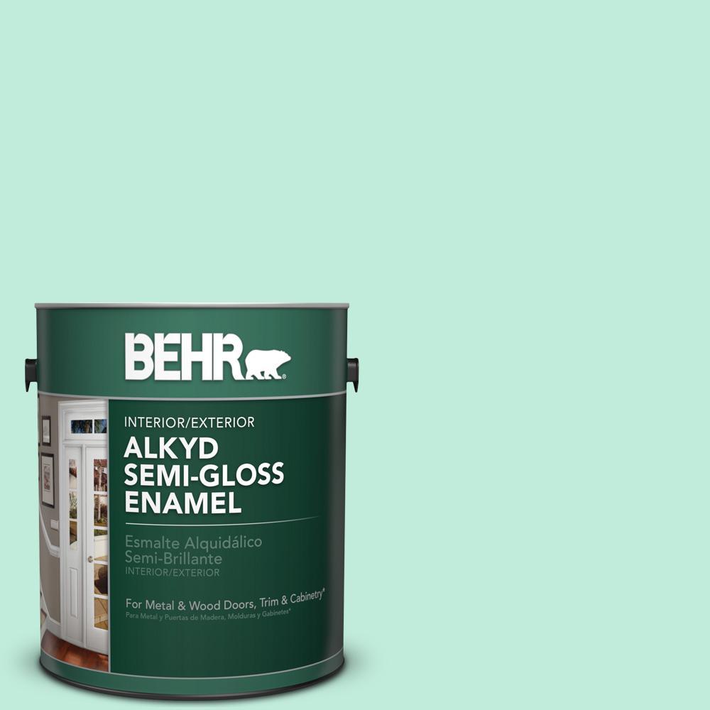 1 gal. #470A-2 Seafoam Pearl Semi-Gloss Enamel Alkyd Interior/Exterior Paint