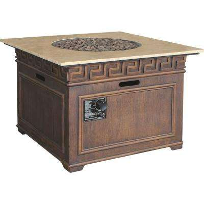 Sonoma 38 in. Square Envirostone and Travertine Propane Fire Pit