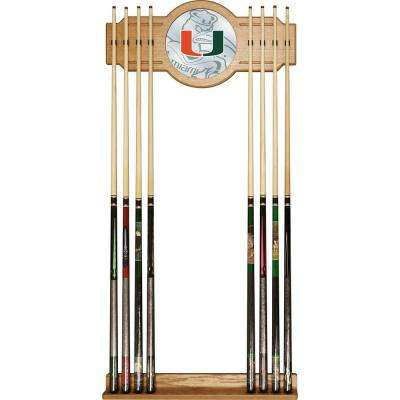 University of Miami 30 in. Wood Billiard Cue Rack with Mirror