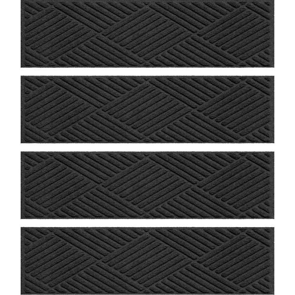 Diamonds 8.5 in. x 30 in. Stair Treads (Set of 4) Charcoal