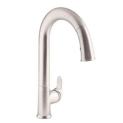 Sensate Single-Handle Touchless Pull Down Sprayer Kitchen Faucet in Vibrant Stainless with DockNetik and Sweep Spray