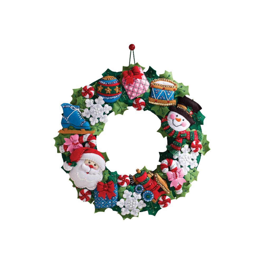 Bucilla Christmas Toys Adult Felt Applique Wall Hanging W...