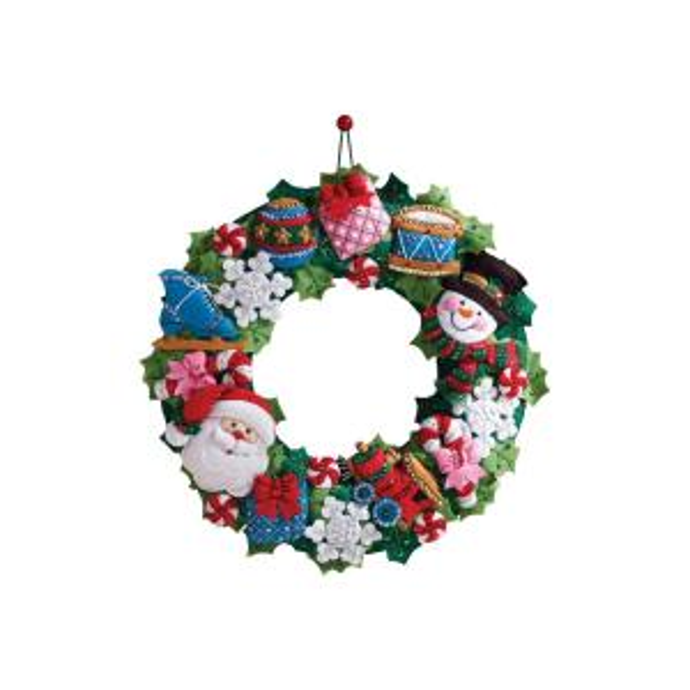 Bucilla Christmas Toys Adult Felt Applique Wall Hanging