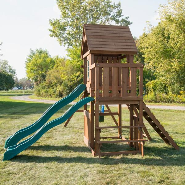 Swing N Slide Playsets Knightsbridge Deluxe Wood Complete Swing Set With Wood Roof And Cool Wave Slide Ws 8353 The Home Depot