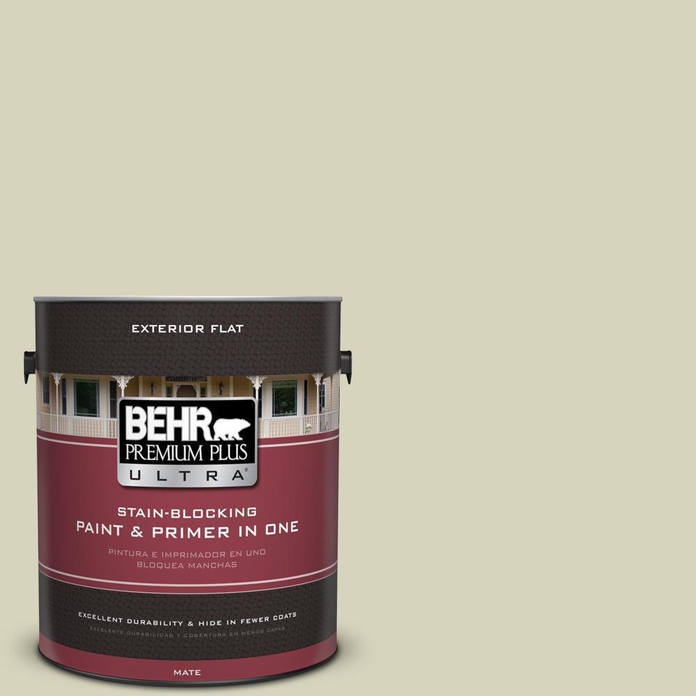 BEHR Premium Plus Ultra 1 gal. #UL200-13 Pale Cucumber Flat Exterior Paint