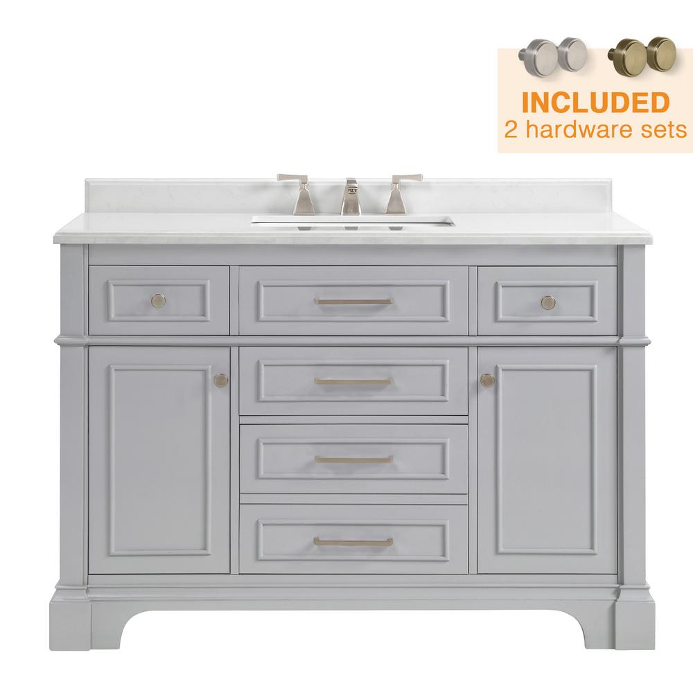 Home Decorators Collection Melpark 48 in. W x 22 in. D Bath Vanity in Dove Grey with Cultured Marble Vanity Top in White with White Sink