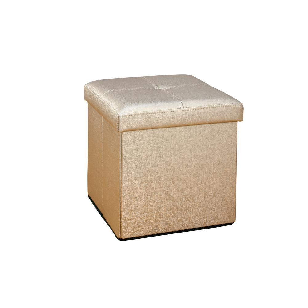 Ottomans Lifestyle Single Ottoman: Simplify Metallic Bronze Single Folding Ottoman-F-0646-MET