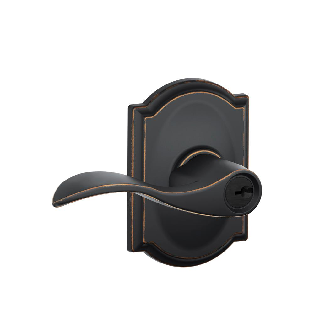 Camelot Collection Aged Bronze Accent Keyed Entry Lever
