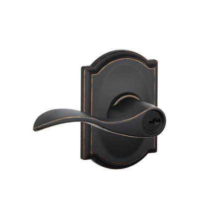 Accent Aged Bronze Keyed Entry Door Lever with Camelot Trim
