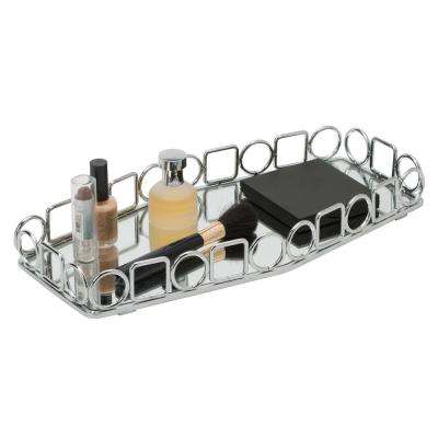 Circles and Squares Design Mirror Vanity Tray