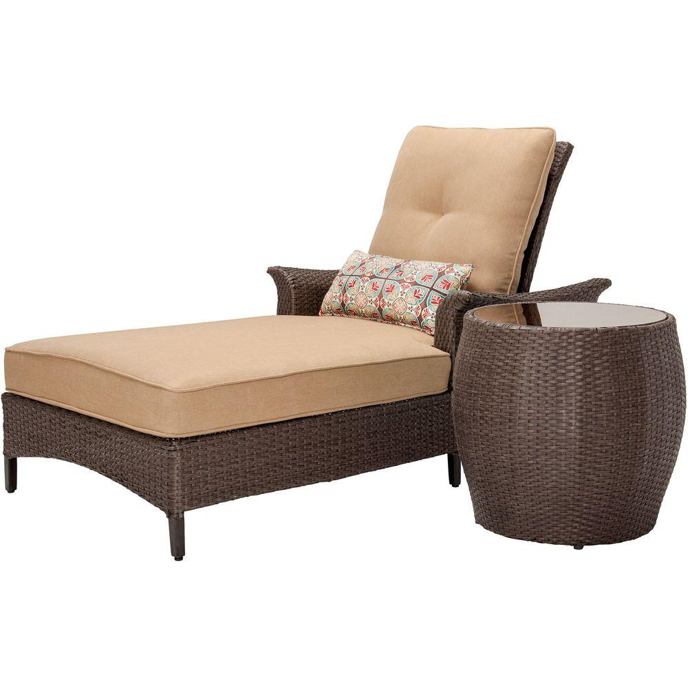 Hanover gramercy 2 piece patio chaise lounge set with for 2 person outdoor chaise lounge