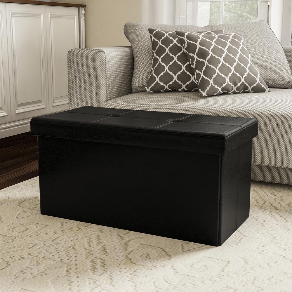Groovy Lavish Home Black Faux Leather Large Foldable Storage Bench Forskolin Free Trial Chair Design Images Forskolin Free Trialorg