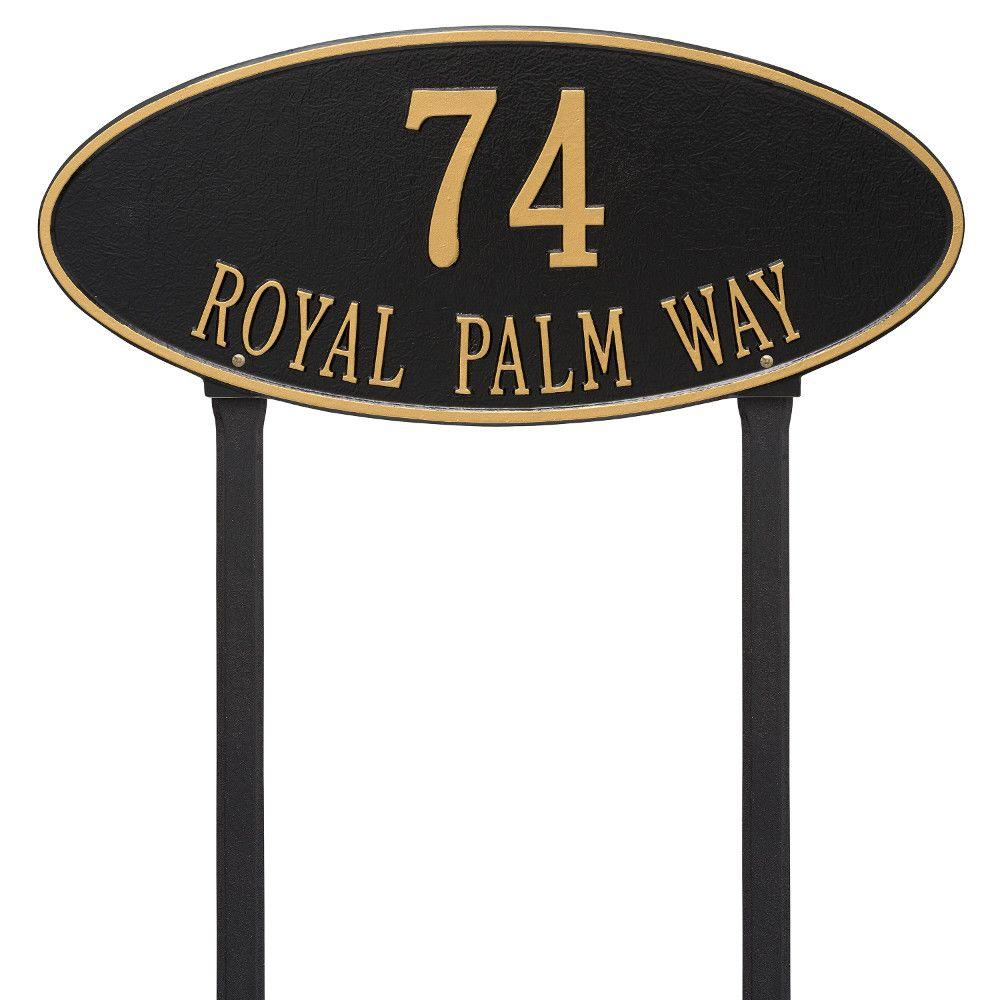 Madison Estate Oval Black/Gold Lawn 2-Line Address Plaque