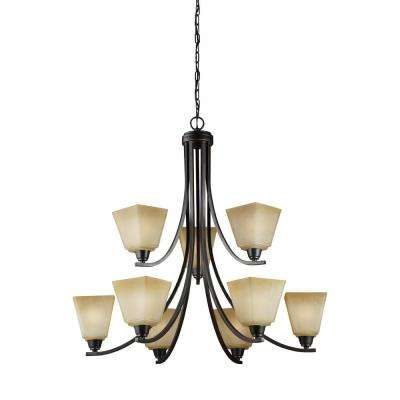 Parkfield 9-Light Flemish Bronze Chandelier with LED Bulbs