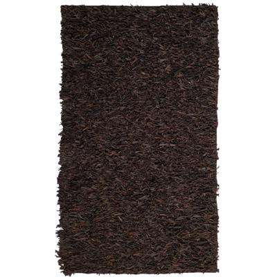 Leather Shag Dark Brown 6 ft. x 9 ft. Area Rug