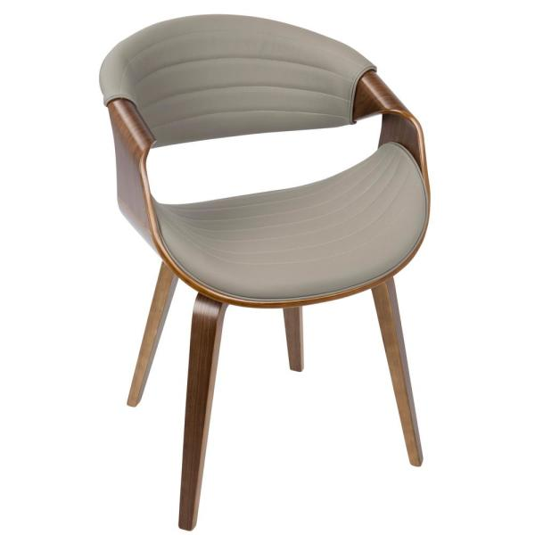 Symphony Mid-Century Walnut and Light Grey Modern Dining/Accent Chair with Faux Leather