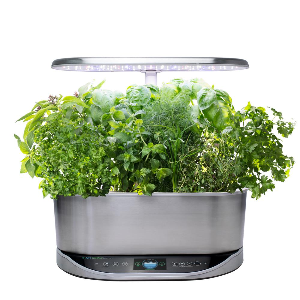 AeroGarden Bounty Elite Stainless Steel - In Home Garden with Gourmet Herb Seed Pod Kit (Alexa Enabled)