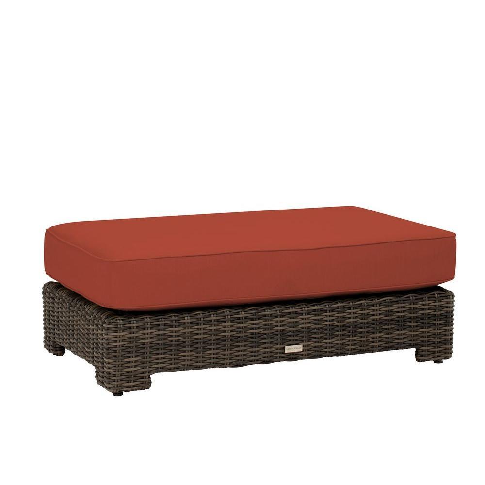 Brown Jordan Northshore Patio Ottoman/Coffee Table with Cinnabar Cushion -- CUSTOM