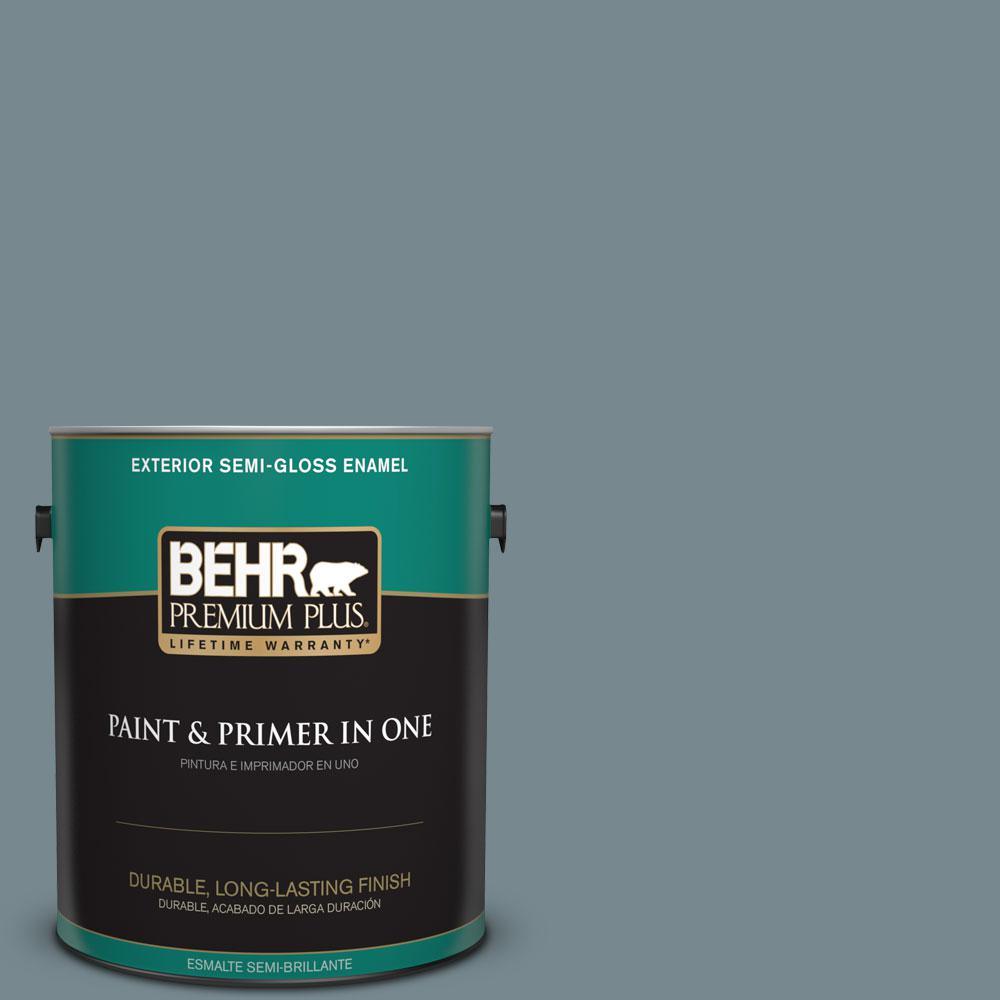 1-gal. #N470-5 Norwegian Blue Semi-Gloss Enamel Exterior Paint
