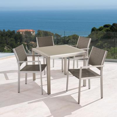 Cape Coral Silver 5-Piece Aluminum and Wicker Square Table Outdoor Dining Set