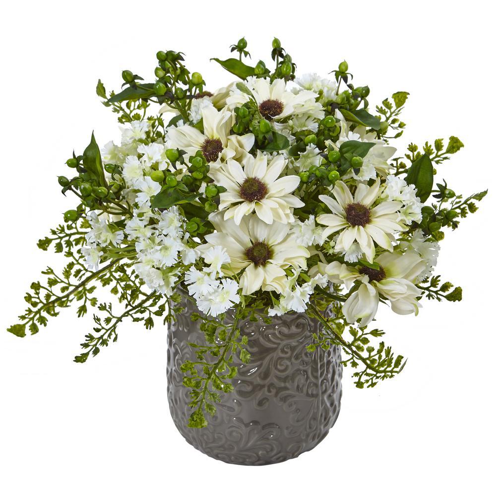 Nearly Natural Daisy Bush Silk Arrangement 1495-WH