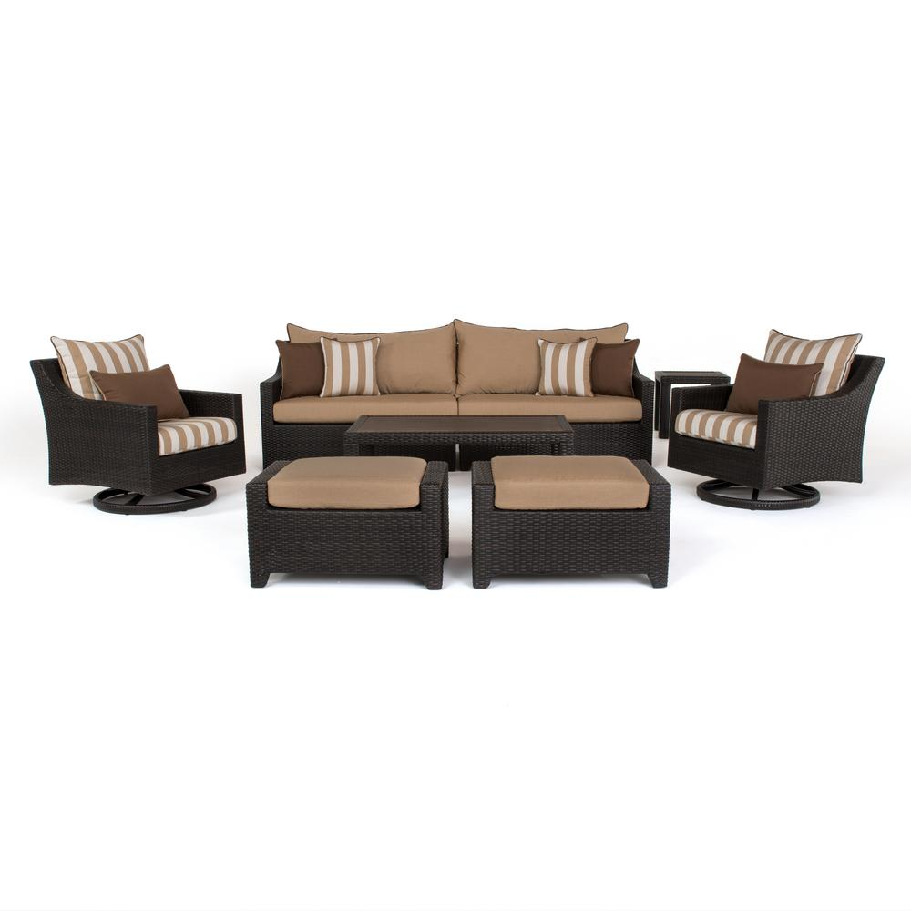Deco 8-Piece All-Weather Wicker Patio Deluxe Sofa and Club Chair Conversation